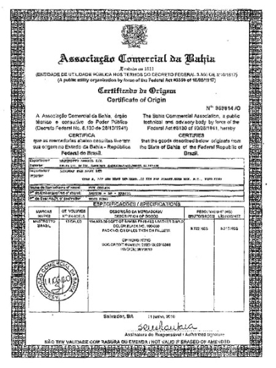 皮革原产地证书